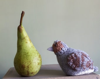 Knitted partridge looking for a pear tree