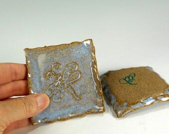 Ceramic tea bag holder, ceramic spoon rest, pottery tea bag caddy, stoneware square spoon rest, tea bag caoster dragonfly stamped set of 2
