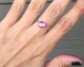 Elegant Romantic Minimalist Solitaire Pink Sapphire Ring September Birthstone