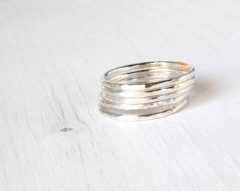 GET 1 FREE WITH Five Stackable silver rings / hammered stacking rings in shiny silver / simple silver skinny stacking rings modern Handmade
