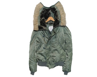 Vintage Army Issue Hooded Cold Weather Attached Hood N-2B Flying Jacket Made in USA - Medium / Long (os-m-4)