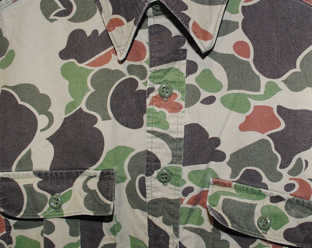 Vintage Walls Camo 100% Cotton Button Up Hunting Shirt Made in USA - Medium