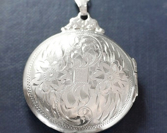 Vintage Silver Locket Necklace, Hand Engraved Large Round Photo Keeping Sterling Pendant - Quintessence
