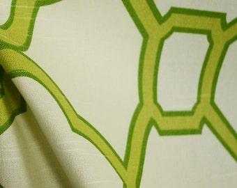 Bali Pistachio Green Trellis Cotton Drapery Fabric