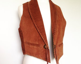 Boho Hippie Western Brown Leather Vintage Festival Vest