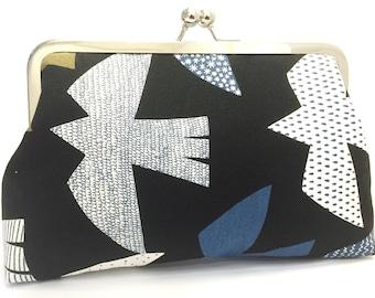 clutch purse - flight patterns - 8 inch metal frame clutch purse -  bird - black - blue - japanese linen - kisslock purse