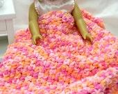 CHUNKY Crocheted Doll Blanket, American Girl Lap Blanket, Gotz Doll, Sasha Doll, Security Blanket, Madame Alexander Doll, Kidz n Cats Doll