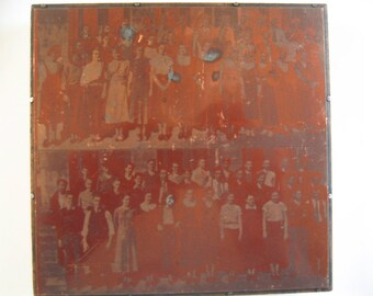 Vintage Copper Printing Plate on Wood Block Two Negative Images Students