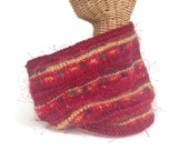 Knit Red Cowl Wool Scarf Hand Tied Yarn