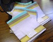 Vintage NOS  Cotton Linen Kitchen Dish Towel -Aqua Yellow Tan Stripe -Unused with Paper & Foil Labels -6 towels available