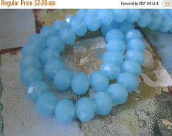 30% OFF SALE Sky Blue Faceted Rondelle 8mm Glass Beads, 20 pcs