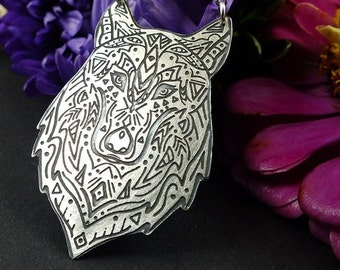 Etched silver necklace, sterling silver jewelry, boho wolf necklace
