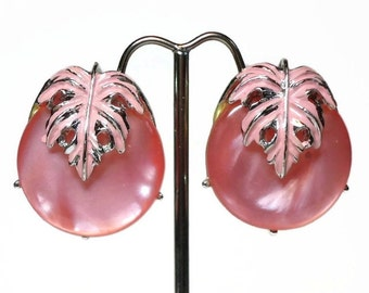 50s Pink Moonglow & Enamel Button Earrings with Enameled Leaf Over-lay in Silver Clip-back Design - Vintage 50's Plastic Costume Jewelry