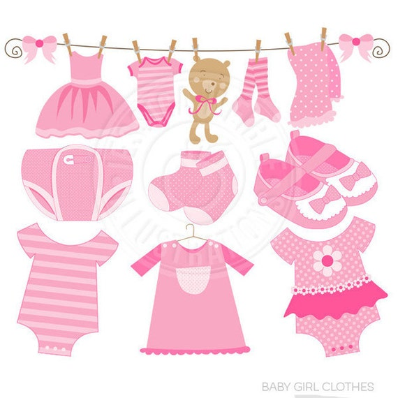 Baby Girl Clothes Cute Digital Clipart - Commercial Use OK - Pink Baby Clothesline, Baby Girl Clothes Clip art, Baby Girl Graphics