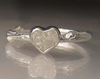 Heart Shaped Raw Diamond Twig Ring, White Raw Engagement Ring, Rough Diamond Engagement Ring