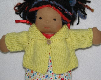 Doll Sweater for 13 inch Doll in Lemon Yellow Wool RTG
