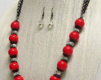 22 inch Red Glass Bead Necklace Set #18682