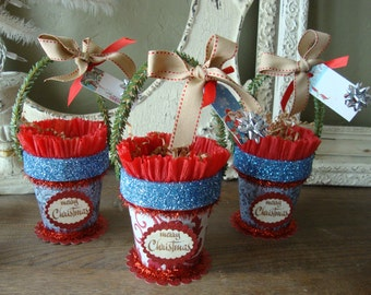 Christmas gift bag treat basket red white blue Christmas gift wrap paper basket candy container party favor paper mache
