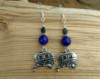 Purple Camper Earrings, Purple Camper Sterling Silver Earrings, Camping Sterling Earrings, Silver Camping Purple Sterling Silver Earrings