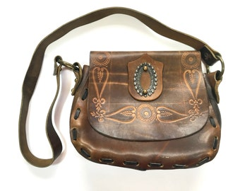 60s Tooled Leather Bag | Leather Purse Handbag Shoulder Bag