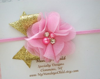 Pink and Gold Baby Headband, Pink and Gold Headband, Gold Bow Headband, Baby Headband, Newborn Headband, Toddler Headband, Girls Headband