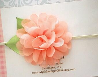 Peach Baby Headband, Peach Headband, Peach Flower Headband, Baby Flower Headband, Baby Headband, Newborn Headband Toddler Headband Baby Girl