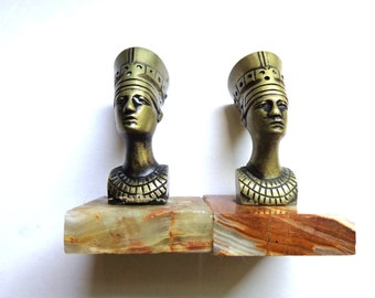 Vintage Bookends FREE Shipping Art Deco Egyptian Gods Marble Base For Her For Him Gift