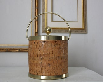 Brass and Cork Ice Bucket