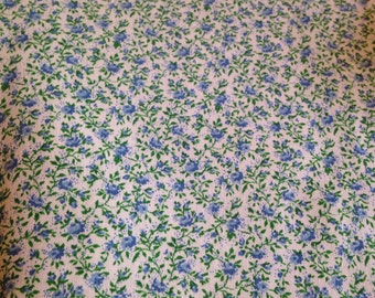 Vintage Light Blue Calico Floral Quilting Fabric Material