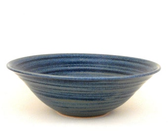 Hand thrown blue stoneware salad bowl