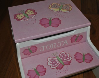 Kids Personalized 2 Step Stool and Storage Bench  Pink  Butterflies