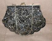 Vintage Pewter Gray & Black Beaded Evening Bag Purse