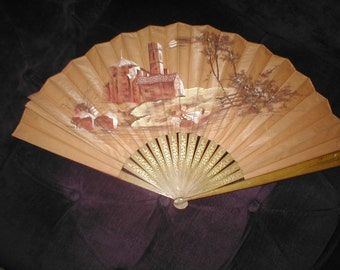Antique Large Painted Silk Folding Fan circa 1908