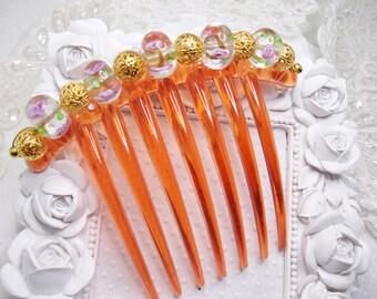 Pink Roses Wedding Cake Italian Lampwork French Comb Twist Fascinator
