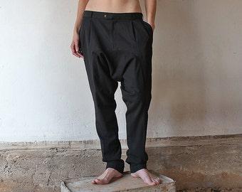 Made to order // Formal black harempants // Drop crotch office trousers // Casual suit pants // Ninja pants  // Mens // Womens