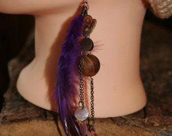 Purple dyed pheasant cock feather earrings, w/ wood, shell and metal embellishments and beads.