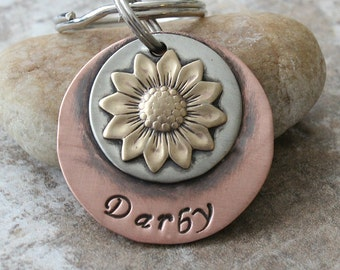 Sunflower / Pet ID Tag / Key Chain / Dog Tag / Soldered / Welded / Customized / Personalized / Brass / Silver / Copper / Handmade A047