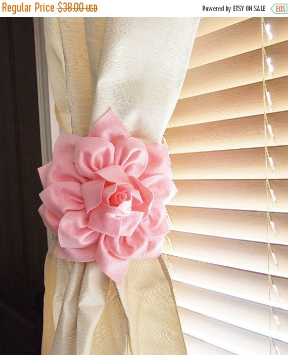 LABOR DAY SALE Nursery Decor-Two Dahlia Flower Curtain By