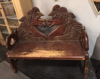 country wooden hand made horse bench