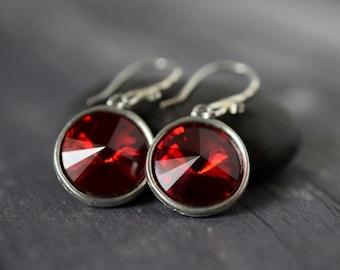 Red Rivoli Crystal Earrings Cherry Red Rivoli Earrings Garnet Earrings Siam Red Earrings Dark Red Dangle Earrings Sterling Silver Swarovski