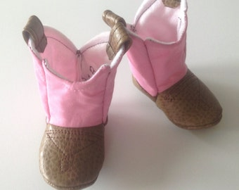 Pink Baby Girl Cowboy Boots with Leather | Newborn size |  FREE shipping in the US