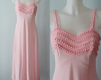 Vintage Pink Nightgown, Vintage Nightgown, Pink Nightgown, Romantic, Wedding, 1970s Nightgown, Nightgown, Lingerie