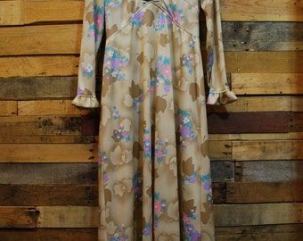 1960'-1970's Poly Gown Length, Floral Dress