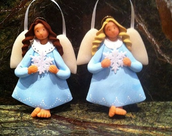 hand sculpted plymer clay blue snowflake angel ornament