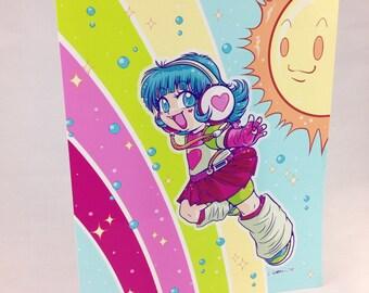 Colourful Rainbow Sorano-chan - Blank Greetings Card