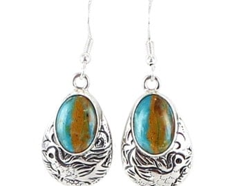 Peruvian Opal Sterling Earrings Etched Ovals