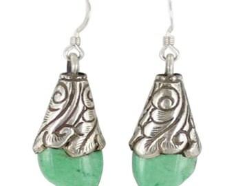 Variscite Sterling Earrings Teardrop Tibetan Style Small