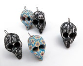 Fimo Clay Alien Skulls, Mid 1990s Fimo Clay, Fimo Beads, Hippie Beads, Fimo Skull Pendants,