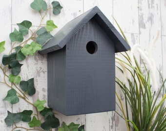 Bird Box, Bird House, in Urban Slate. Can be personalised.