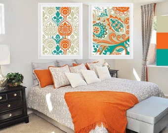 Ikat Print Damask  Turquoise Blues Cream  and Orange , Set of (2)  Wall Art, Custom Colors Available (Unframed) Colors can be changed